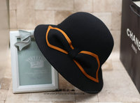 High quality Wool Felt Bucket Hats Women Bow Fedoras Ladies Dress Church Hats Free Shipping WMDW009