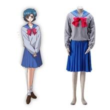 Anime Sailor Moon Ami  / Mercury Crystal Cosplay Costume custom made school outfit