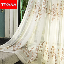 Modern Rustic Linen Yarn Sheer Curtains Fabric For Living Room Embroidered Blue Leaves Tulle Drapes For
