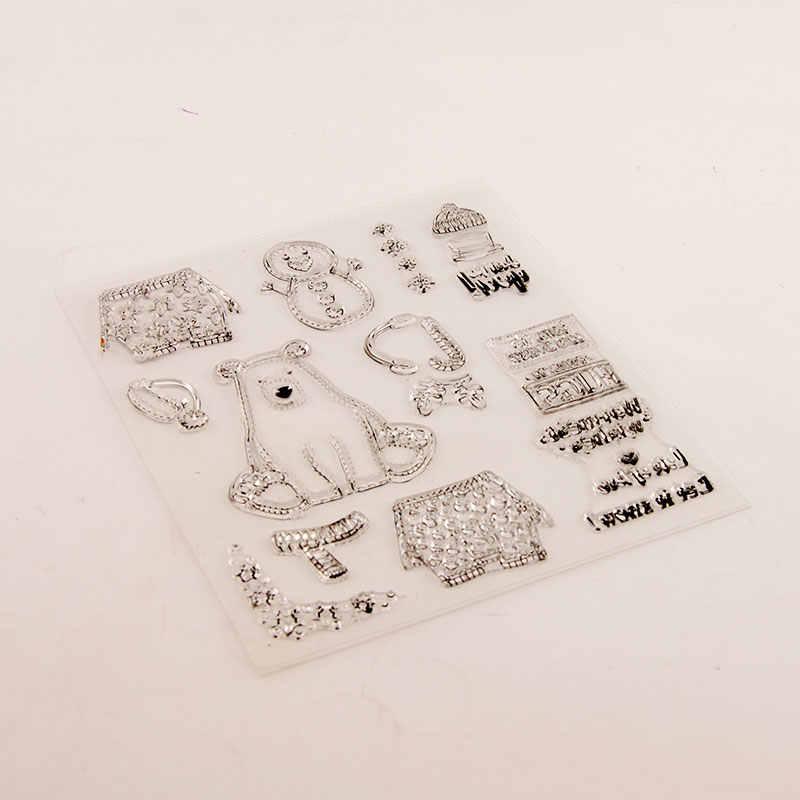 لطيف الثلوج الجليد الدب اللباس الدافئة واضح طوابع لسكرابوكينغ DIY سيليكون الأختام ألبوم الصور النقش مجلد ورقة صانع قالب