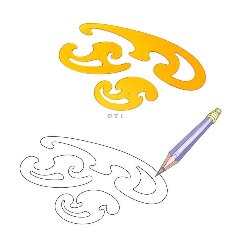 3Pcs Curve Template Ruler Stencil Drawing Drafting Designer Sewing Set