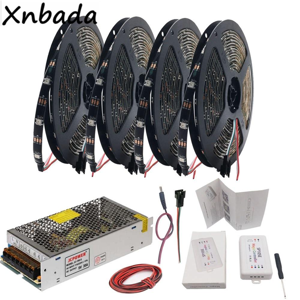 WS2812B WS2812 RGB Led Strip Light+SP105E Bluetooth RGB Led Controller+DC5V Power Supply Adapter Kit 5m 10m 15m 20m 30/60Leds/m