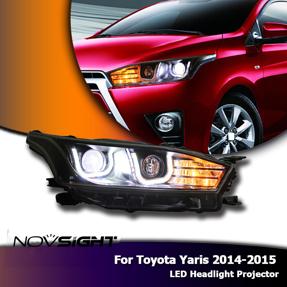 Novsight 2x led headlights assembly headlamp drl fog light daylight turn signal for toyota yaris 2014