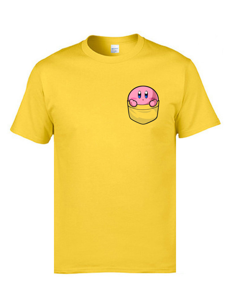 Pocket Pink Kawaii Kirby Tee Shirt For Student High Quality Brand Clothing Shirts Cotton Fabric Funny Cartoon Print T Shirt Cute in T Shirts from Men 39 s Clothing