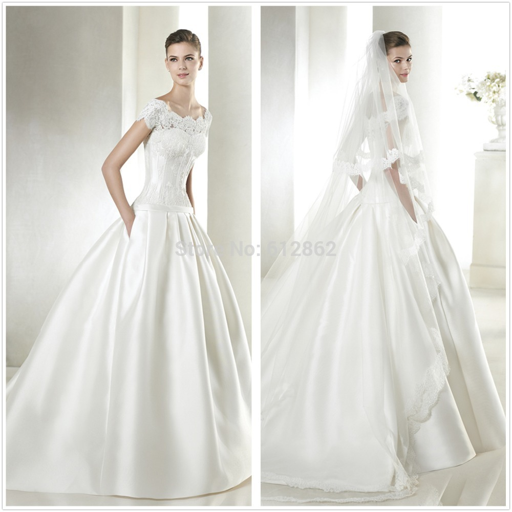 2016 Designer Satin Ball Gown Pocket Wedding Dress With Lace Sleeves ...