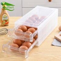 Drawer Design Kitchen Eggs Storage Rack Holder Refrigerator Freezer Storage Box Container Home Kitchen Organizer 2 Layers