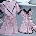 2017 Primavera Verão Outono Mulheres Conjunto de Robe de Seda Camisola & Camisola Senhora Sexy Vestido Feminino Twinset de Sleepwear 20040