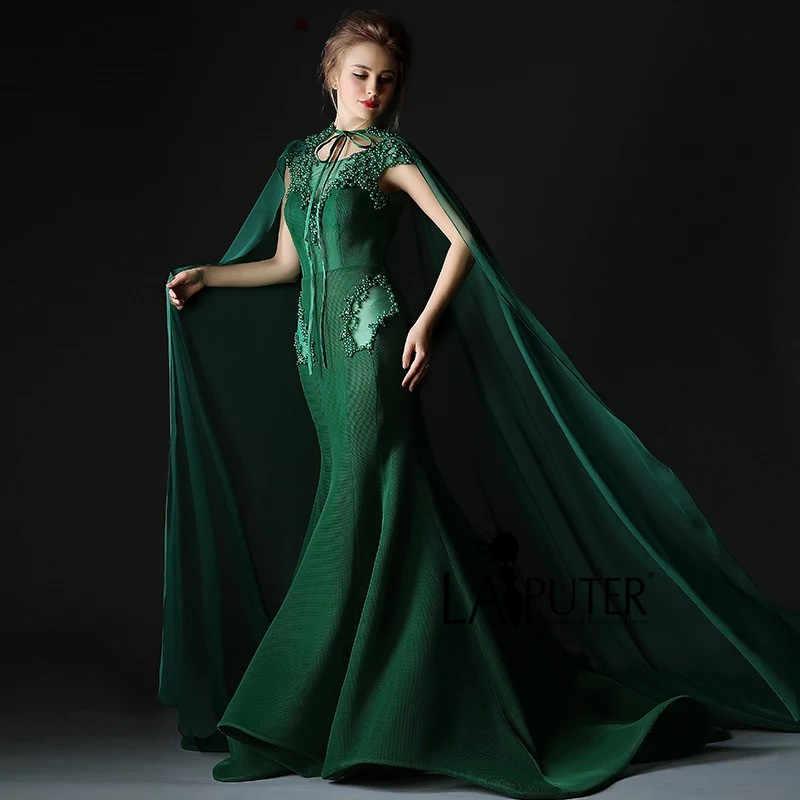 fa3dfa502d ... Luxury 2016 Dark Green Sexy Mermaid Long Evening Prom Dresses with  Shawl Illusion Arabic Style Pearls ...