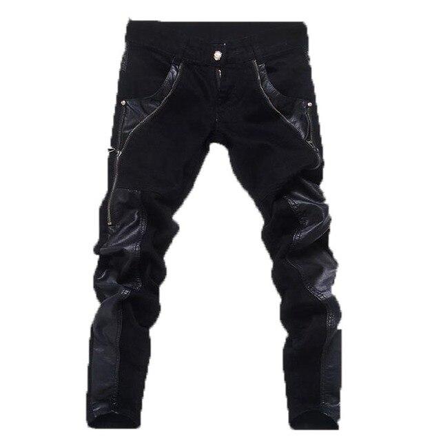 e841e487a Jeans para hombre 2016 nuevo anuncio moda estilo de inglaterra de la PU  Patchwork Leather Casual