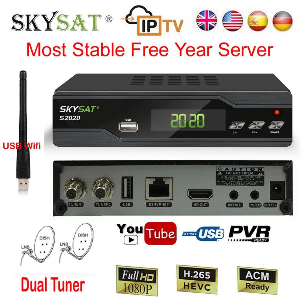 Récepteur de télévision Satellite Skysat H.265 décodeur IPTV M3u S2020 HD DVB-S2 + USB Wifi le plus Stable récepteur de serveur ACM IKS SKS Biss Vu