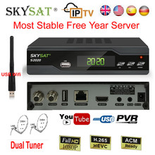 Skysat H.265 Satellite TV Receiver Decoder IPTV M3u S2020 HD DVB-S2 + USB Wifi Most Stable IKS SKS ACM Server Receptor Biss Vu