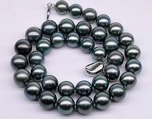 Huge18″11-12mm South Sea genuine black perfect Round Pearl Necklace >Selling jewerly free shipping