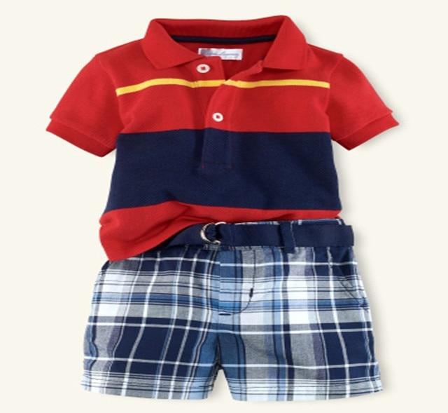 Новый поло с отложным воротником детская одежда мальчиков красный полосатый т рубашка плед шорты комплект мода летние дети хлопка мягкие одежды 16J03