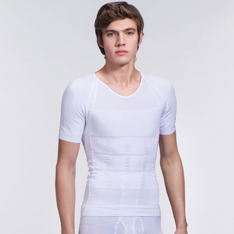 White High Quality Neoprene Elastic Mens Tight Body Back Slimming Vest Men Tummy Slimmin ...