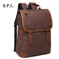 S P L New Brand Men Backpack Bag Fashion Casual Canvas Bag Tote Backpack Vintage Patchwork