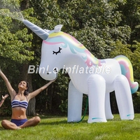 Customized 3m 6m white beautiful giant inflatable unicorn horse cartoon for outdoor decoration