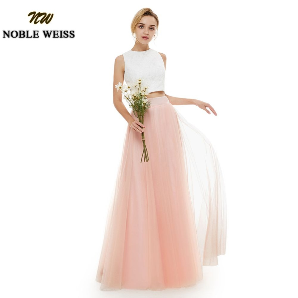NOBLE WEISS Lace Top Prom Dress Two Piece Wedding Party Dress Tulle Skirt Prom Gown Sleeveless Floor Length Evening Dresses