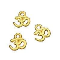 200pcs OM Charms Gold Tone Small Yoga Symbol Charm Pendants 10x10mm