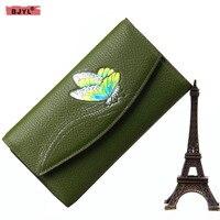 BJYL 2018 new butterfly women wallets cow Genuine Leather female purse tide hand holding party original handmade long wallets