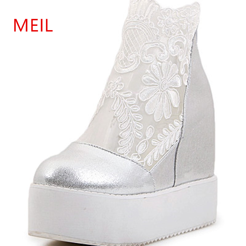 2019 New Women Wedges Sandal Sexy Lace Silver Platform Sandals High Heels The Sponge Cake Thick Bottom Hot Spring Summer Shoes in High Heels from Shoes