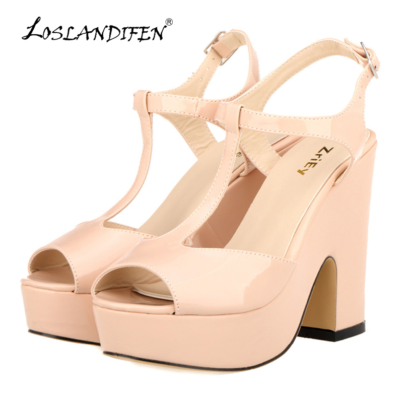 LOSLANDIFEN Women Platform Peep Toe High Heel Sandals Ladies Wedges Patent Leather Party Wedding Shoes Zapatos Mujer 978-2PA 2017 summer new rivet wedges sandals creepers women high heel platform casual shoes silver women gladiator sandals zapatos mujer