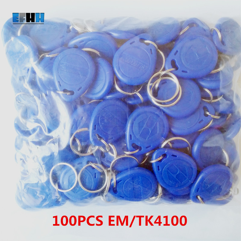 100Pcs/lot 125khz RFID EM4100 TK4100 Key Fobs Token Tags Keyfobs Keychain ID Card Read Only Access Control RFID Card usb 125khz em4100 rfid proximity reader 5 cards 5 key tags 5 dia card