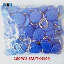 100 EM4100 TK4100 Pçs/lote 125khz RFID Berloques Chave Tags Os Keyfobs Token Chaveiro ID Somente Leitura de Cartão RFID Cartão de Controle de Acesso