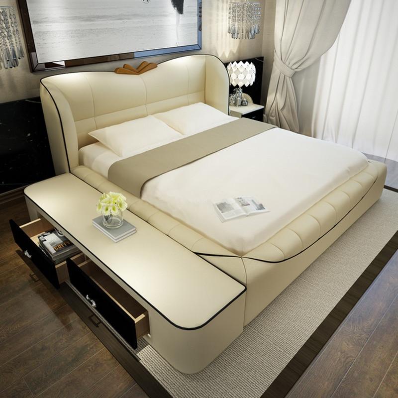 bedroom furniture sets modern leather king size storage bed frame ...