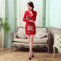 Embroidery Flowers Chinese Women S Wool Rabbit Cheongsam Sheath Sexy Min Qipao Autumn Winter Full Sleeve