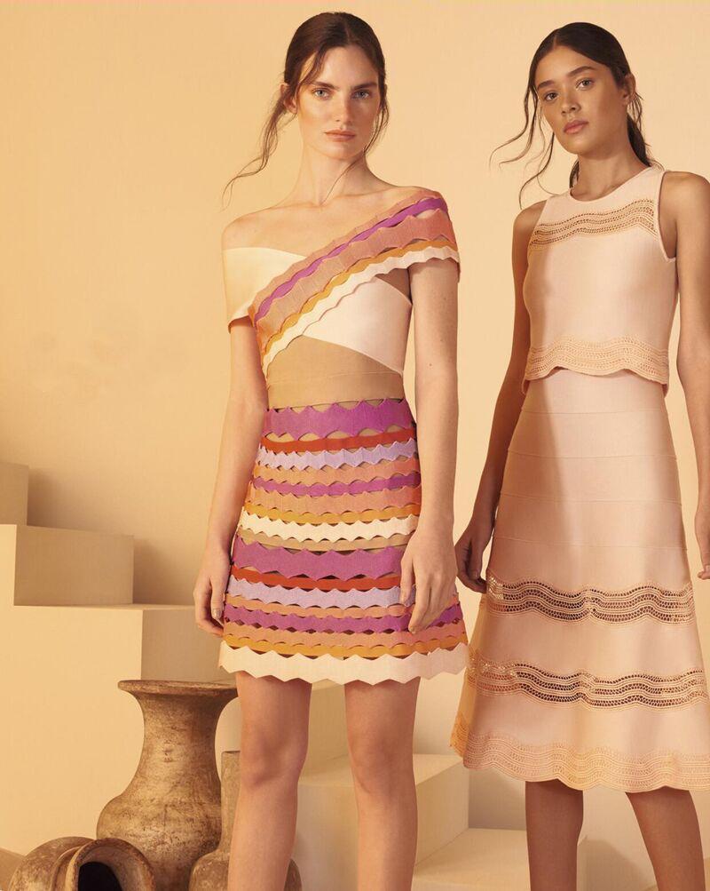 2019 nouvelle mode élégance une épaule à manches courtes Sexy en gros célébrité fête Jacquard qualité rayonne Bandage Mini robe