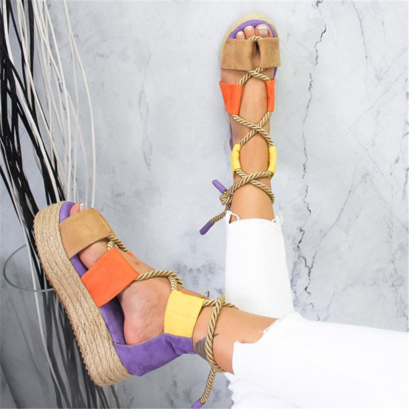 Adisputent 2019 Torridity Women Flat Sandals Rope Female Beach Shoes Fasten Shoes  Heel Comfortable  Sandals