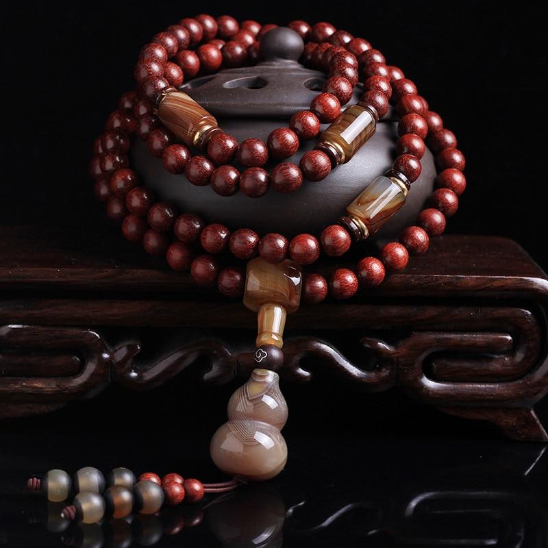 Feng shuiPure lucidatura manuale autentica lobulare legno di sangue di pollo in legno di palissandro rosso 108 perline stringa la mano partita sardonica in legno di palissandro - 2