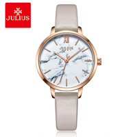 Julius Brand Fashion Marble Dial Ladies Watches Elegant Female Leather Watch Women Print Flower Quartz Wristwatch Relojes Mujer