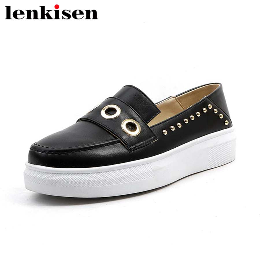 Lenkisen preppy style round toe slip on sweet pu rivets hole causal shoes cozy runway solid elegant women vulcanized shoes L5f1