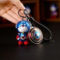 Capitão americano Dos Desenhos Animados Doraemon Cosplay Keychain Chave Do Carro Saco Titular Titular de Couro Charme Crianças Brinquedo Chave Saco Cadeia Pingente
