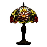 ATREUS 12 Inches TiffanyLamps Style Table Desk Stained Glass Lamp Shade Vintage Floral Victorian Accent Antique for Home Decro