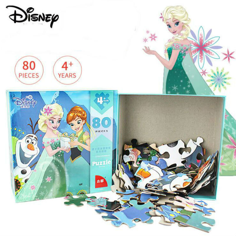 Genuine Disney Frozen Mickey Minnie Mouse Sofia Mermaid Puzzle 80 Pieces Educational Toys Children Birthday Christmas toy gift deluxe how luxury lost its