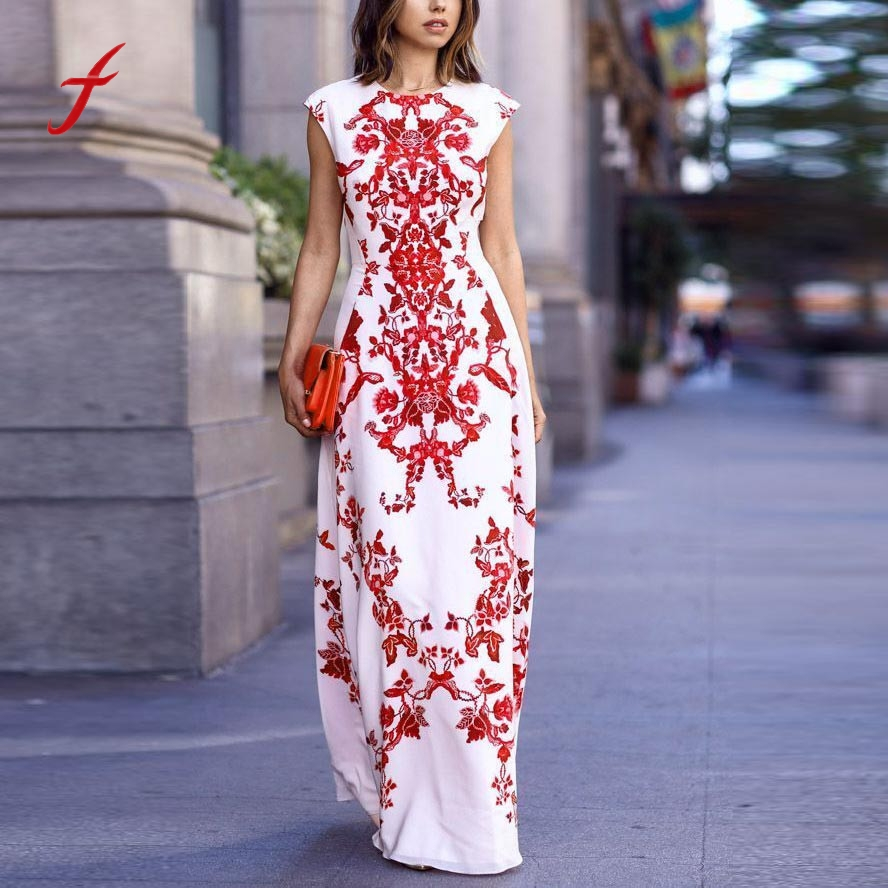 Small_ Store Women 2017 dress boho Dress  female vestidos mujer Dresses PrintedS leeveless  Long Evening Party dresses Beach Sundress
