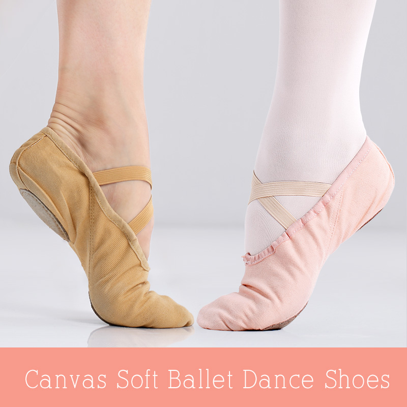 Professional Canvas Ballet Dance Shoes Girls Women Yoga Gymnastics Soft Sole Flat Shoes Children Adult Dance Slippers
