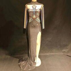 Блестящие кристаллы длинное платье Для женщин пикантные Вечеринка сценический костюм одежда женский, черный стразы вечерние Празднуйте