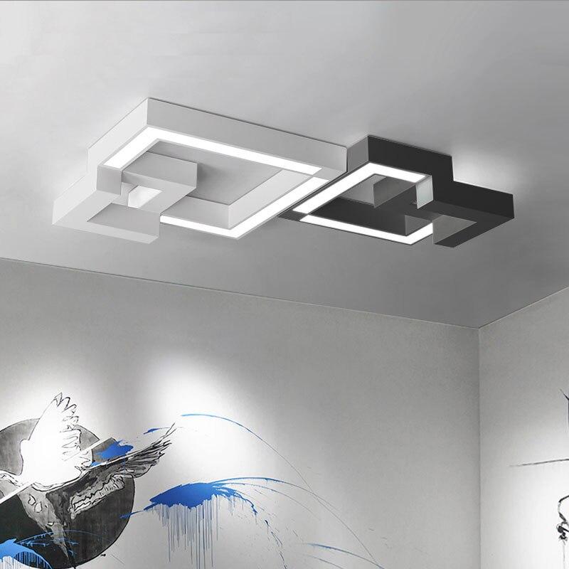 Dimmable led plafonniers avec télécommande, moderne plafond lampe fer surface monté luminaires Noir/Blanc AC220V