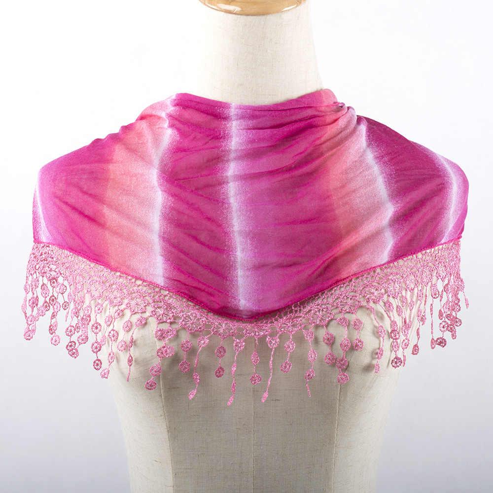Moda verano borla hueco encaje Floral triángulo Mantilla bufanda mujer chal bufandas triángulo vendaje bufandas bohemias