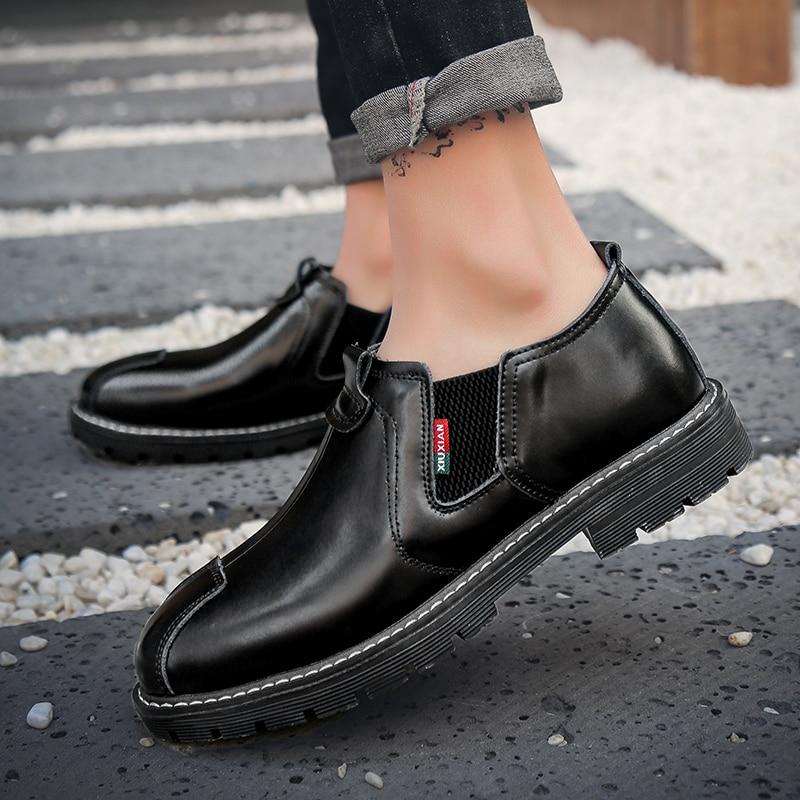 2019 Mode Hommes Slip Sur espadrilles décontractées Chaussures de Travail En Cuir Hommes Marque Appartements Homme chaussures décontractées Fond En Caoutchouc Chaussures de Marche
