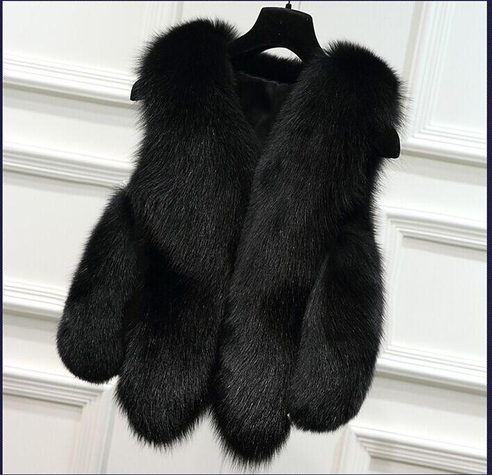 Новинка, зимние толстые теплые меховые жилеты, пальто для женщин, искусственный Лисий мех, жилет, короткие пальто, высокое качество, жилет, Женская куртка, верхняя одежда - Цвет: black