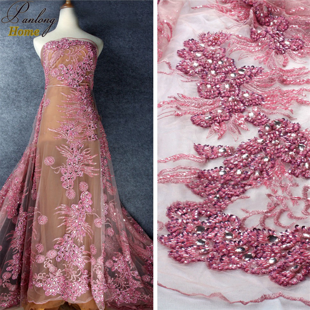 PanlongHome 5 ярдов несколько Цвет тяжелые сетки кисточкой вышивка кружевной ткани свадебное платье Выступления костюмной ткани