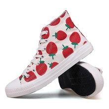 Allwesome Women High Top Canvas Shoes Strawberry Cute Chunky Sneakers Breathable Platform White Espadrilles Schuhe Herren