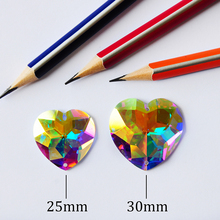 2203TH Heart Shape Clear Crystal AB Sew On Rhinestone Glass Mirror Flatback Sewing Strass Dresses