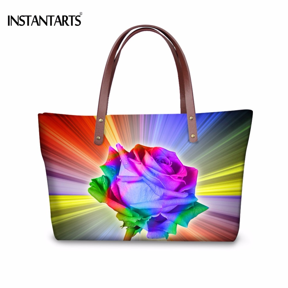 INSTANTARTS Rainbow Colorful Rose Print Women Large Tote Bags Shopping Travel Shoulder Bag Brand Designer Flowers Top Handle Bag