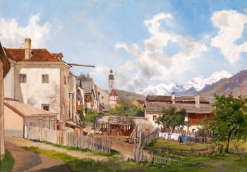 Stunning Oil painting Early spring in rural scenery with church in the morning