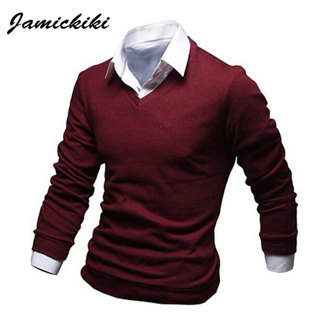Latest Fashion Tshirt Homme 2016 New Full Sleeve Fake Two Piece t-shirt  Male Casual